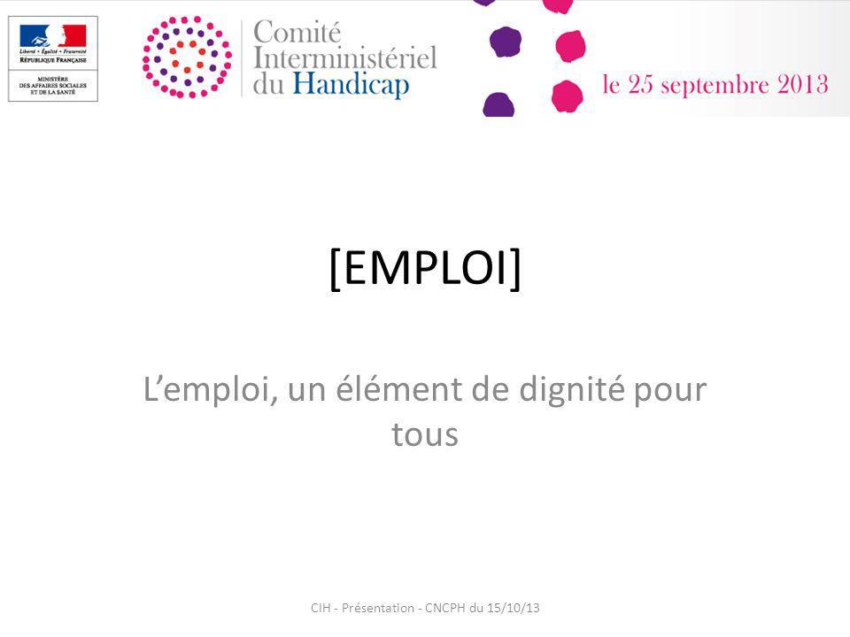 [EMPLOI] Lemploi, un élément de dignité pour tous CIH - Présentation - CNCPH du 15/10/13