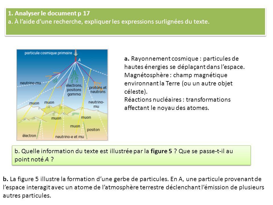 1. Analyser le document p 17 a. À laide dune recherche, expliquer les expressions surlignées du texte. 1. Analyser le document p 17 a. À laide dune re