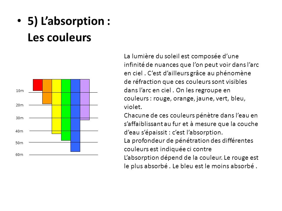 5) Labsorption : Les couleurs 10m 20m 30m 40m 50m 60m La lumière du soleil est composée dune infinité de nuances que lon peut voir dans larc en ciel.