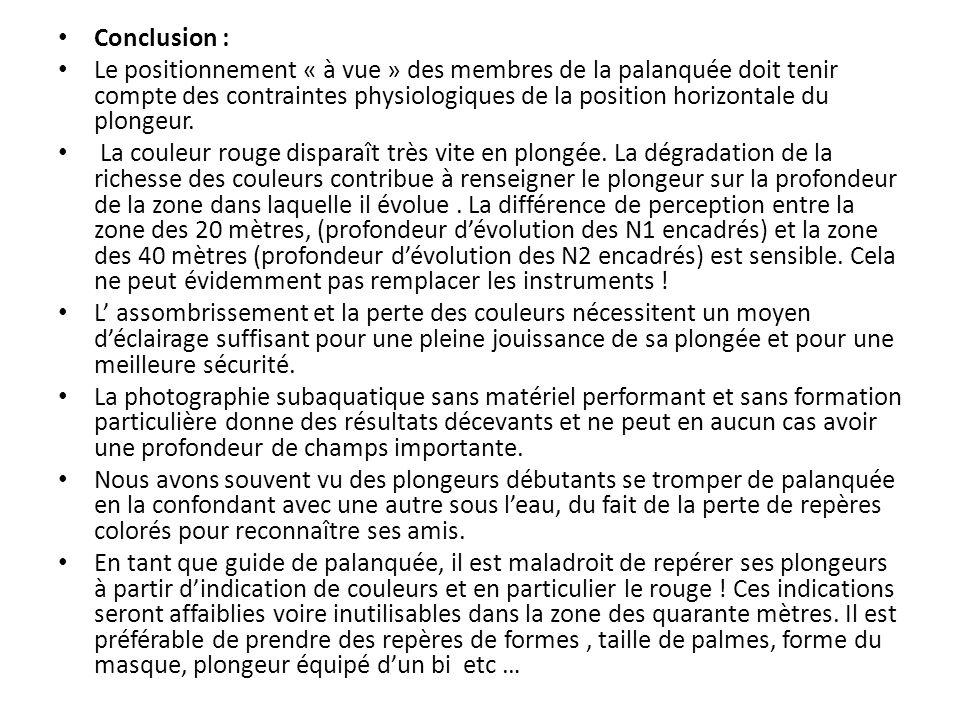 Conclusion : Le positionnement « à vue » des membres de la palanquée doit tenir compte des contraintes physiologiques de la position horizontale du plongeur.