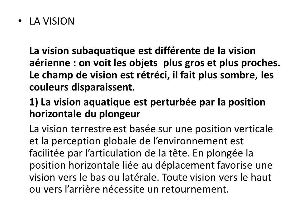 LA VISION La vision subaquatique est différente de la vision aérienne : on voit les objets plus gros et plus proches.