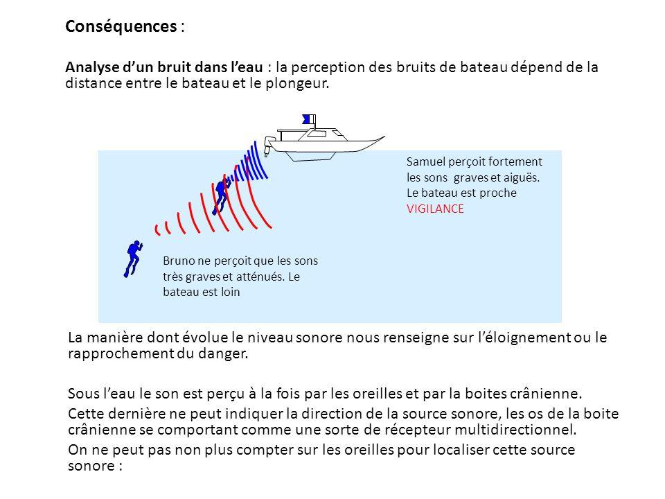 Conséquences : Analyse dun bruit dans leau : la perception des bruits de bateau dépend de la distance entre le bateau et le plongeur.