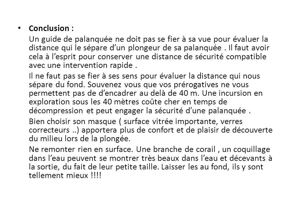 Conclusion : Un guide de palanquée ne doit pas se fier à sa vue pour évaluer la distance qui le sépare dun plongeur de sa palanquée.