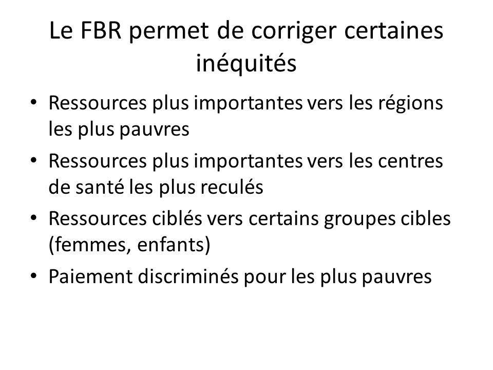 Le FBR permet de corriger certaines inéquités Ressources plus importantes vers les régions les plus pauvres Ressources plus importantes vers les centr