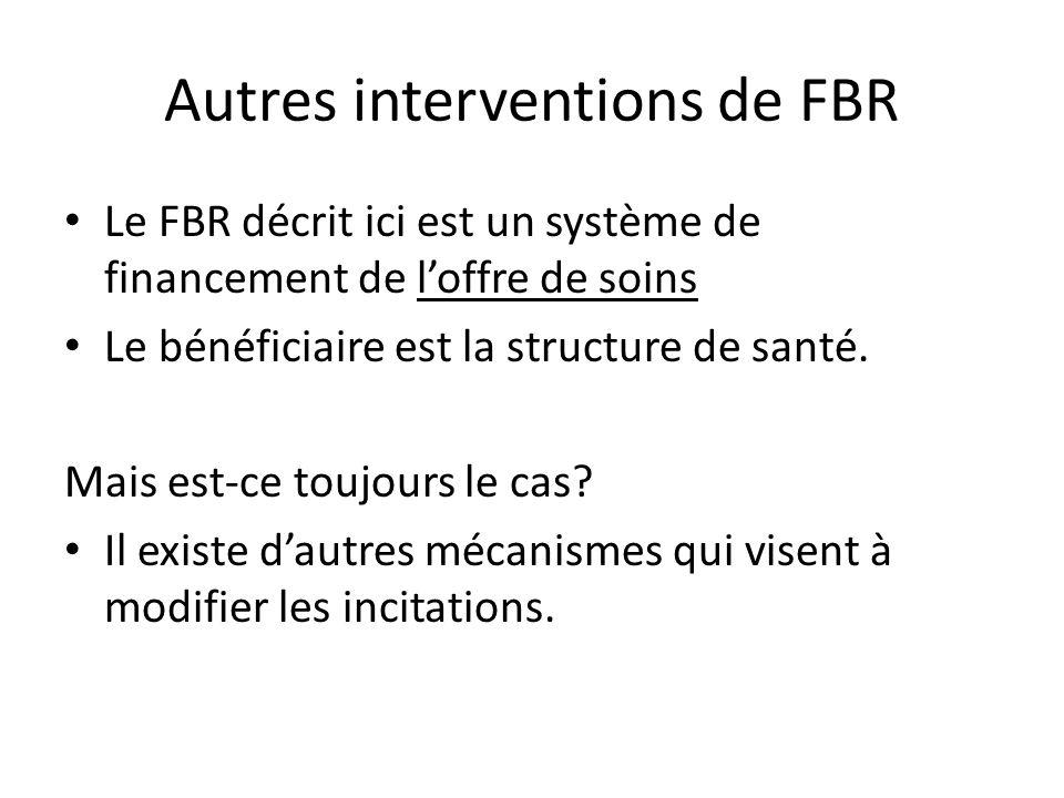 Autres interventions de FBR Le FBR décrit ici est un système de financement de loffre de soins Le bénéficiaire est la structure de santé. Mais est-ce