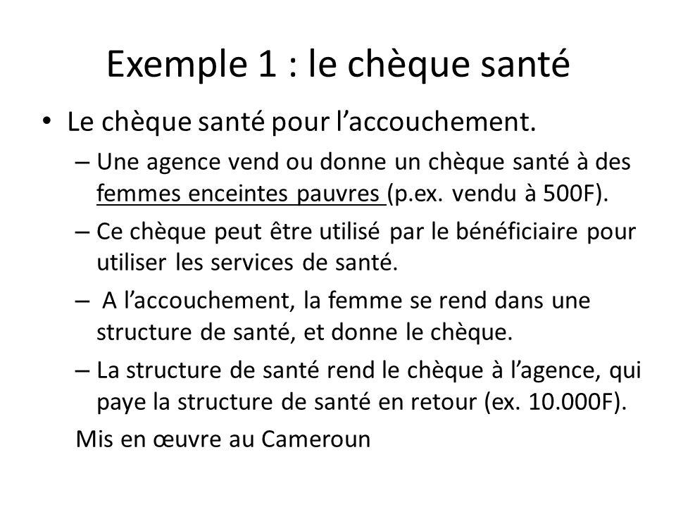 Exemple 1 : le chèque santé Le chèque santé pour laccouchement. – Une agence vend ou donne un chèque santé à des femmes enceintes pauvres (p.ex. vendu