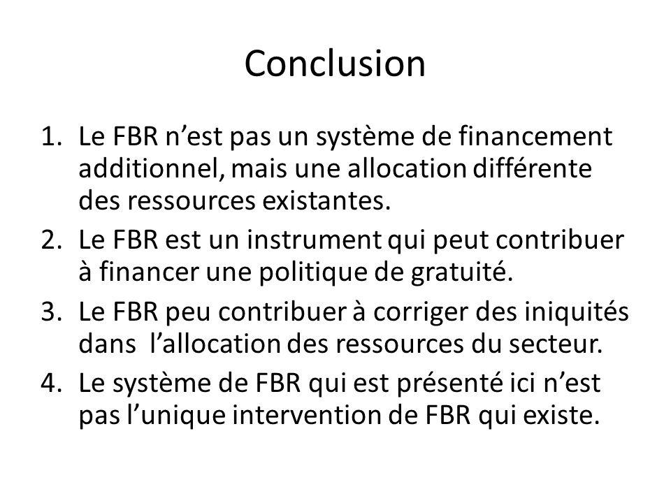Conclusion 1.Le FBR nest pas un système de financement additionnel, mais une allocation différente des ressources existantes. 2.Le FBR est un instrume