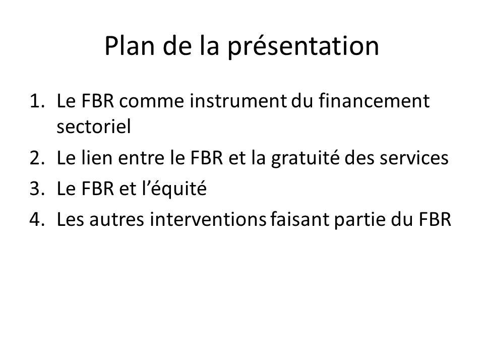 Plan de la présentation 1.Le FBR comme instrument du financement sectoriel 2.Le lien entre le FBR et la gratuité des services 3.Le FBR et léquité 4.Le