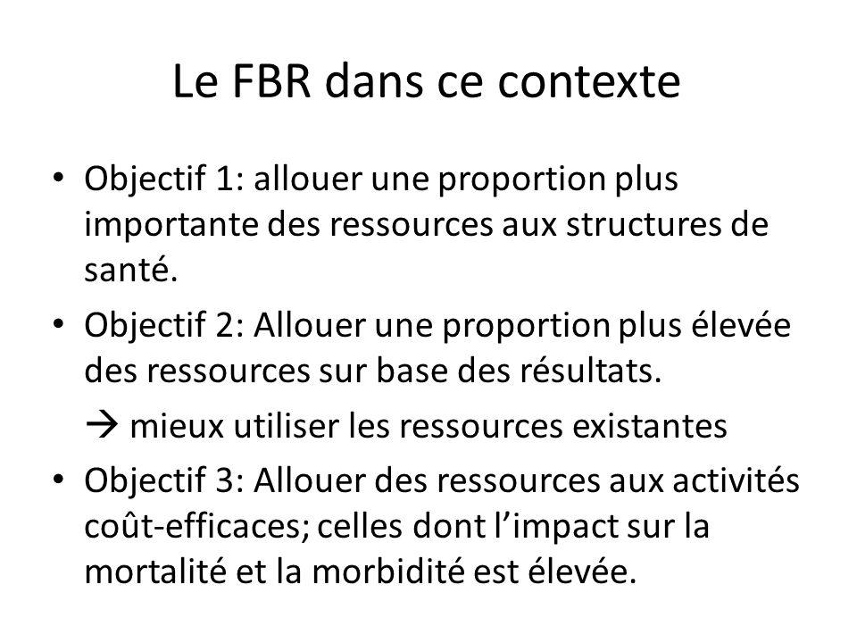 Le FBR dans ce contexte Objectif 1: allouer une proportion plus importante des ressources aux structures de santé. Objectif 2: Allouer une proportion