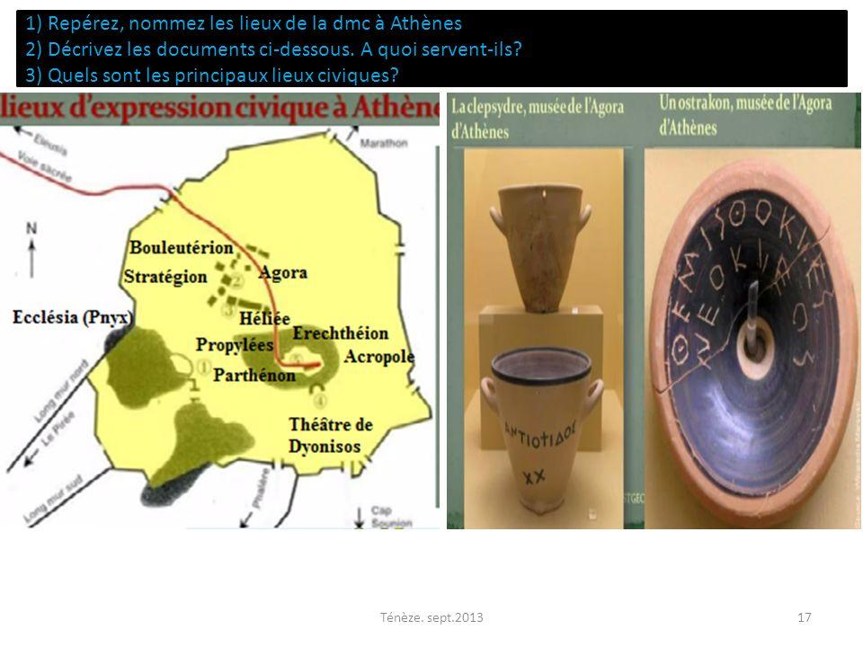 1) Repérez, nommez les lieux de la dmc à Athènes 2) Décrivez les documents ci-dessous. A quoi servent-ils? 3) Quels sont les principaux lieux civiques