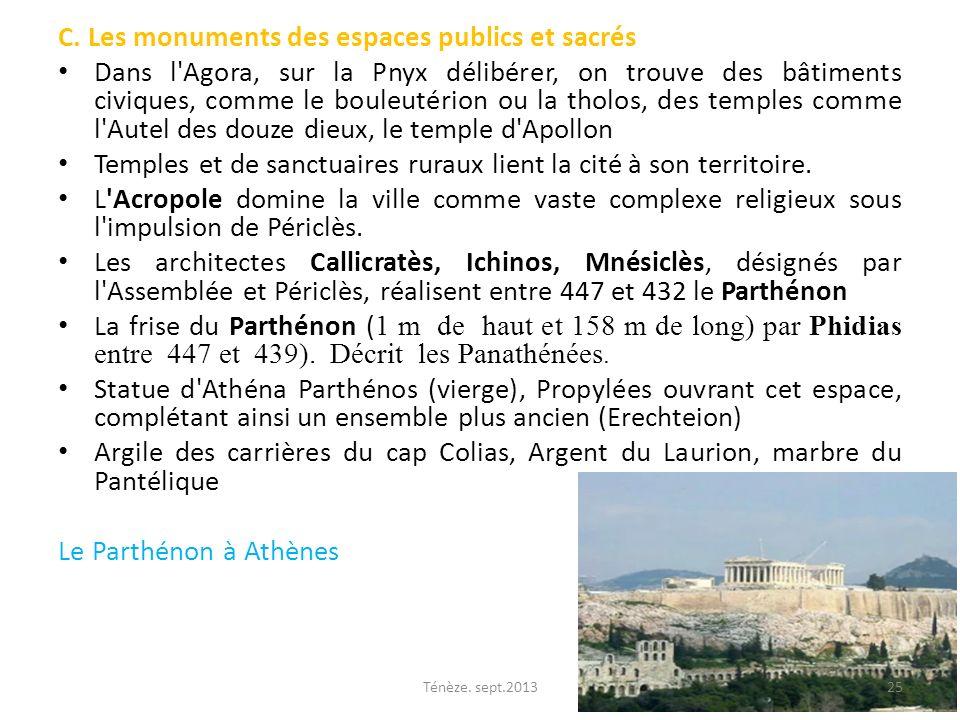 C. Les monuments des espaces publics et sacrés Dans l'Agora, sur la Pnyx délibérer, on trouve des bâtiments civiques, comme le bouleutérion ou la thol