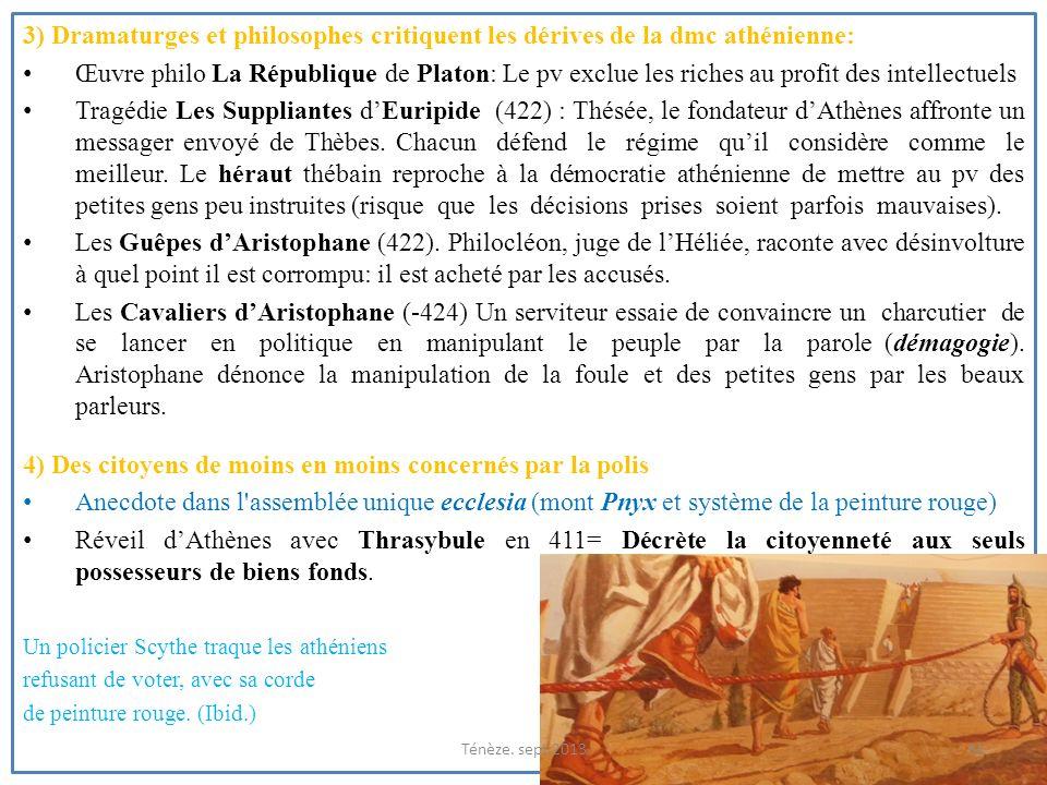 3) Dramaturges et philosophes critiquent les dérives de la dmc athénienne: Œuvre philo La République de Platon: Le pv exclue les riches au profit des