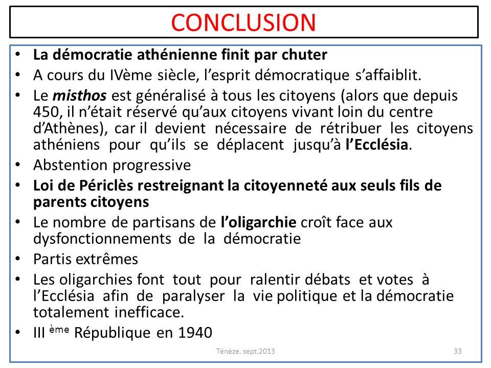 CONCLUSION La démocratie athénienne finit par chuter A cours du IVème siècle, lesprit démocratique saffaiblit. Le misthos est généralisé à tous les ci