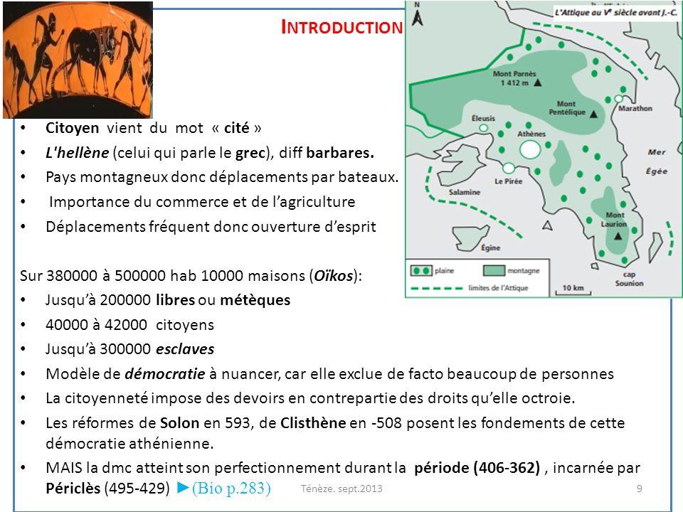 I NTRODUCTION Citoyen vient du mot « cité » L'hellène (celui qui parle le grec), diff barbares. Pays montagneux donc déplacements par bateaux. Importa