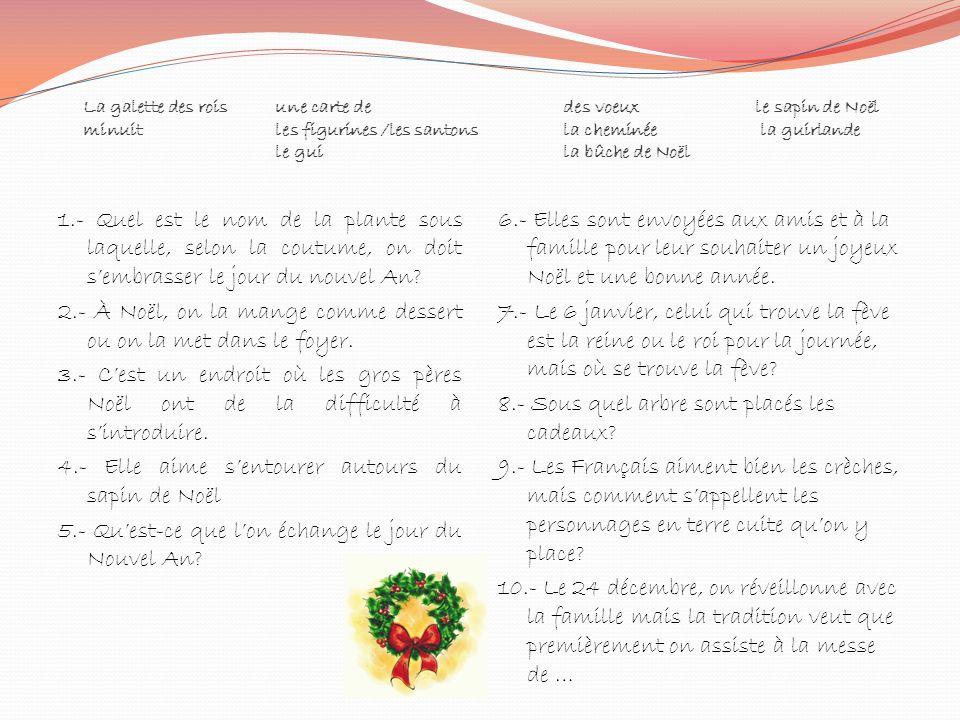 La galette des roisune carte de des voeuxle sapin de Noël minuitles figurines /les santonsla cheminée la guirlande le guila bûche de Noël 1.- Quel est
