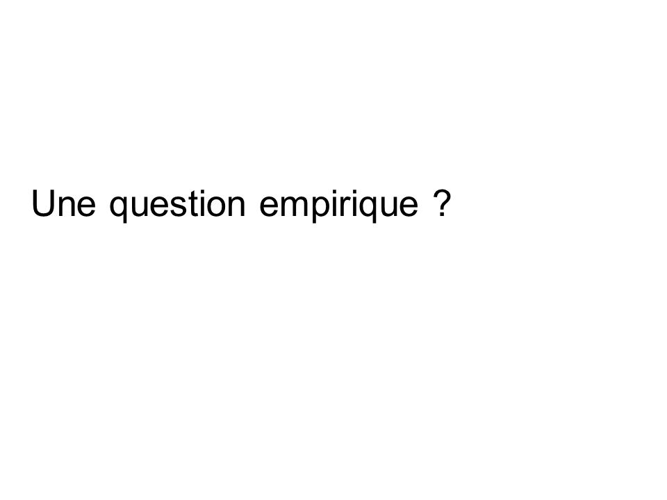 Une question empirique