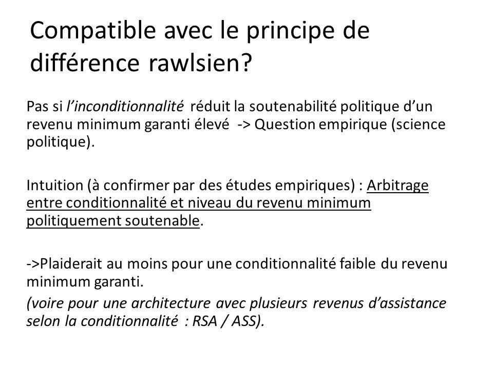 Pas si linconditionnalité réduit la soutenabilité politique dun revenu minimum garanti élevé -> Question empirique (science politique).
