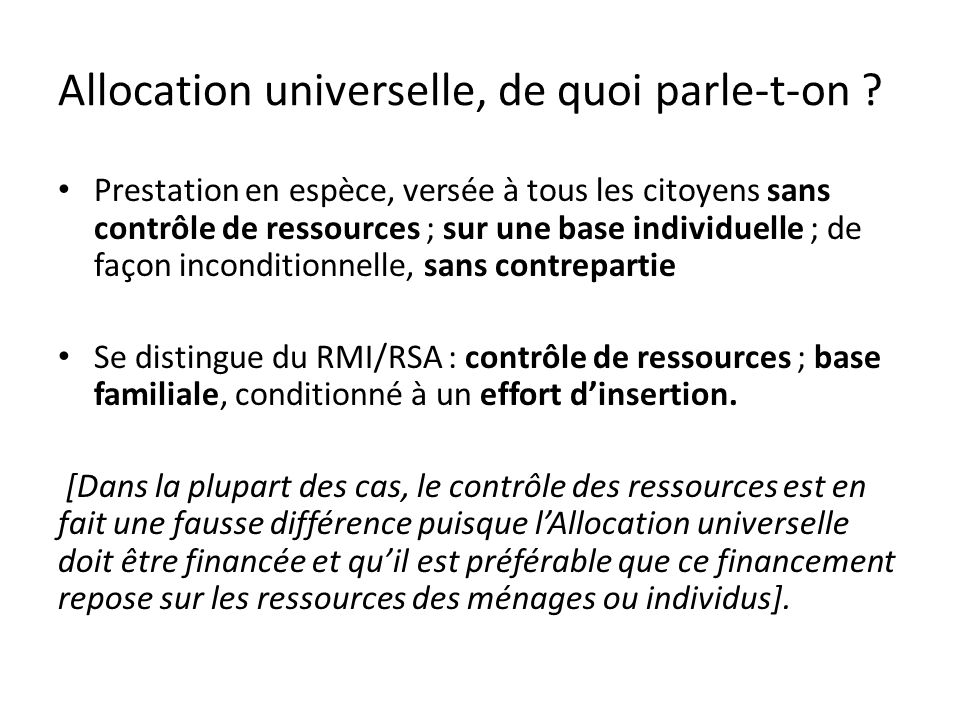 Allocation universelle vs RMI/RSA Quel fondement pour le revenu minimum garanti .