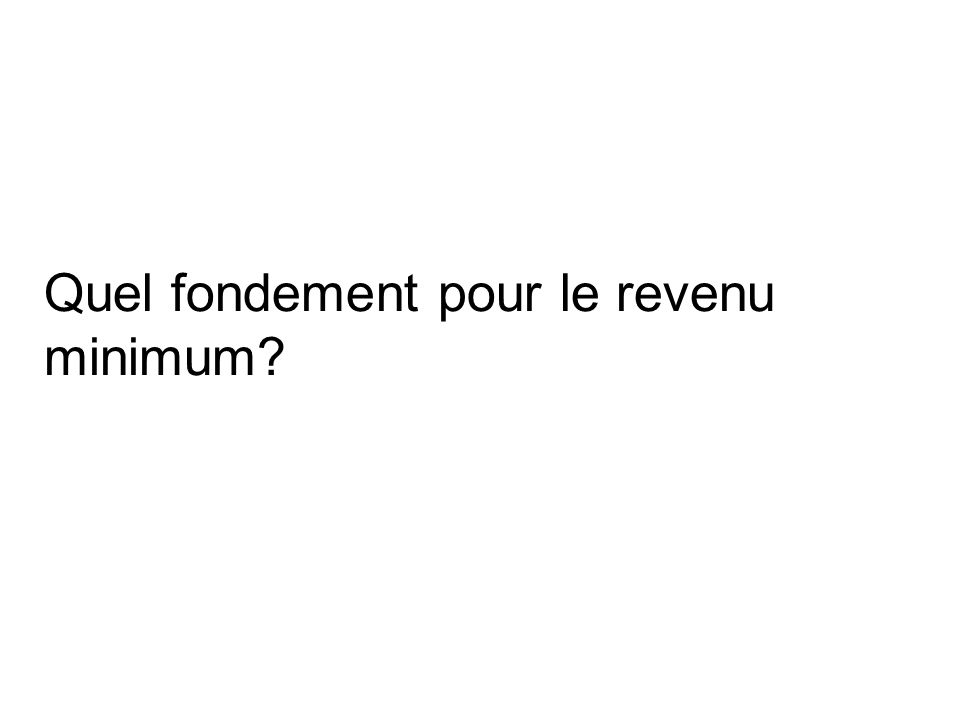 Quel fondement pour le revenu minimum?