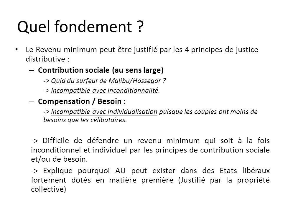 Le Revenu minimum peut être justifié par les 4 principes de justice distributive : – Contribution sociale (au sens large) -> Quid du surfeur de Malibu/Hossegor .