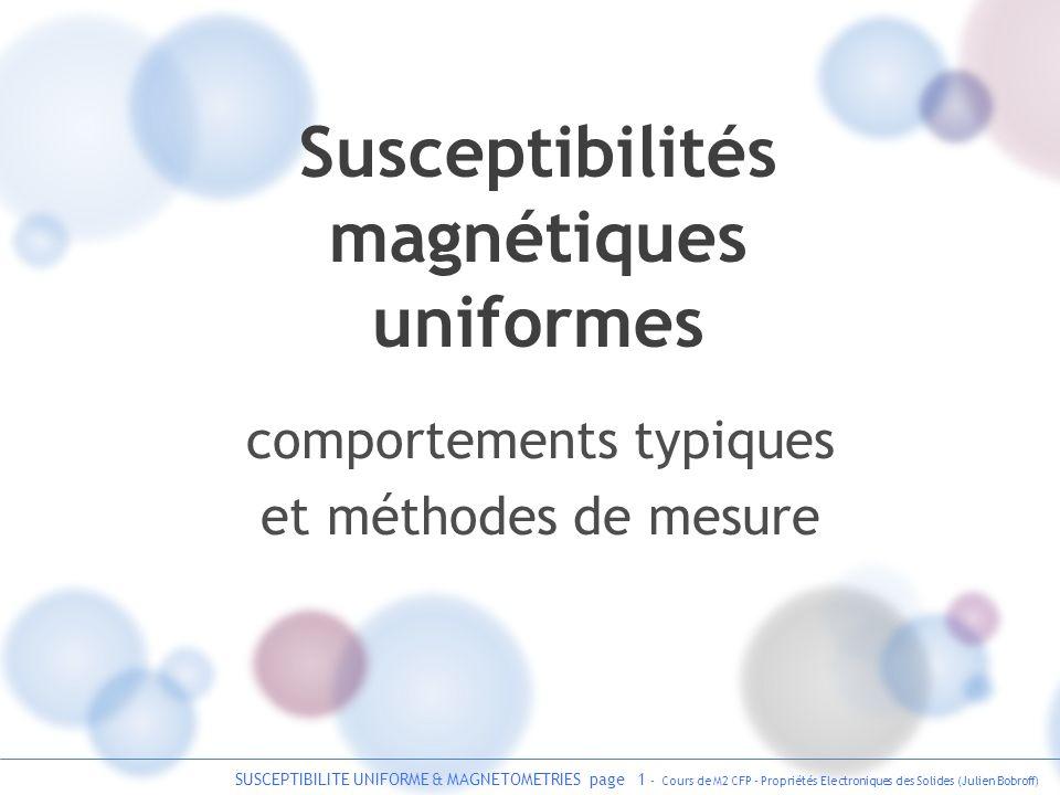SUSCEPTIBILITE UNIFORME & MAGNETOMETRIES page 32 - Cours de M2 CFP - Propriétés Electroniques des Solides (Julien Bobroff) magnétométrie par SQUID SQUID : Superconducting Quantum Interference Device supra isolant supra squid DC squid AC (rf) Mesure expérimentale de la susceptibilité uniforme