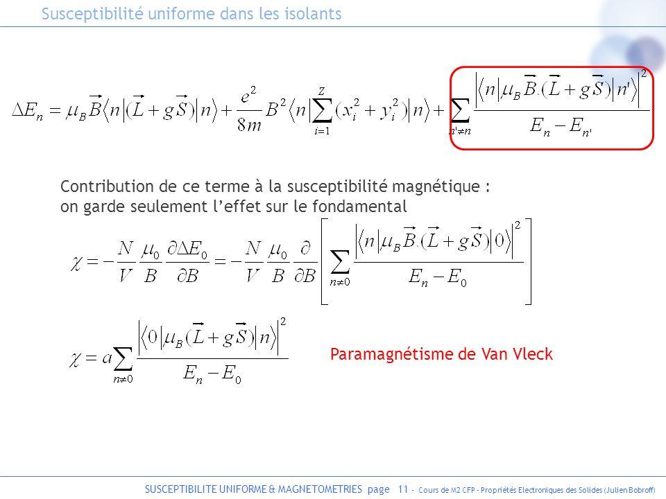 SUSCEPTIBILITE UNIFORME & MAGNETOMETRIES page 11 - Cours de M2 CFP - Propriétés Electroniques des Solides (Julien Bobroff) Paramagnétisme de Van Vleck