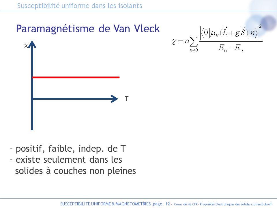 SUSCEPTIBILITE UNIFORME & MAGNETOMETRIES page 12 - Cours de M2 CFP - Propriétés Electroniques des Solides (Julien Bobroff) - positif, faible, indep. d
