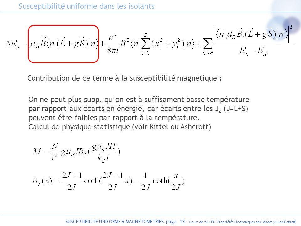 SUSCEPTIBILITE UNIFORME & MAGNETOMETRIES page 13 - Cours de M2 CFP - Propriétés Electroniques des Solides (Julien Bobroff) Contribution de ce terme à