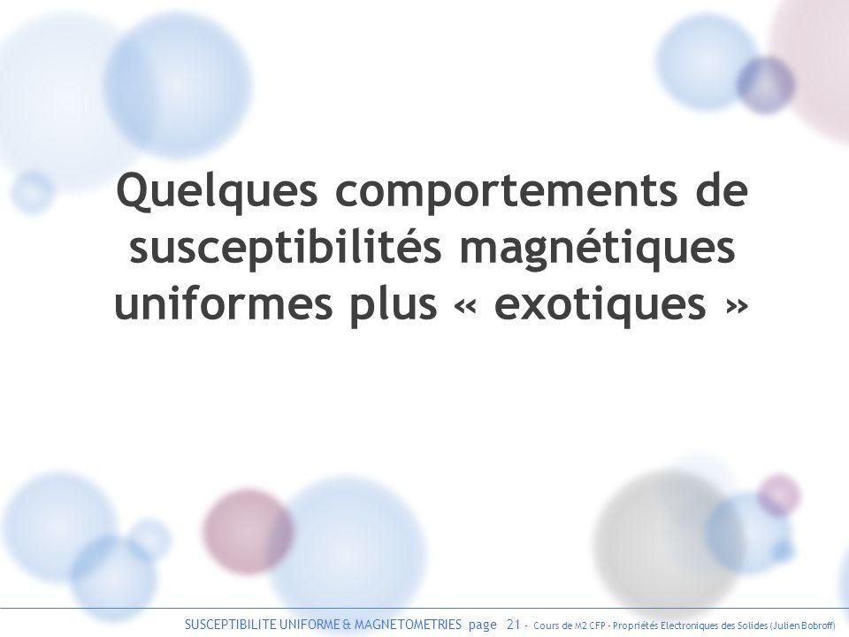 SUSCEPTIBILITE UNIFORME & MAGNETOMETRIES page 21 - Cours de M2 CFP - Propriétés Electroniques des Solides (Julien Bobroff) Quelques comportements de s