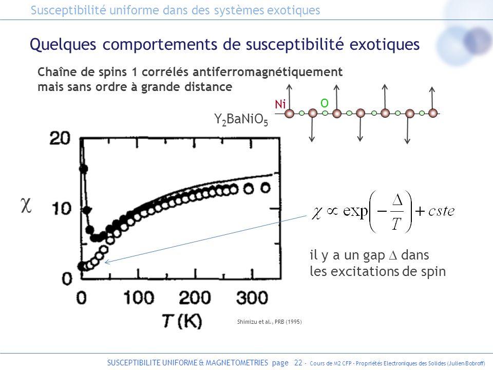 SUSCEPTIBILITE UNIFORME & MAGNETOMETRIES page 22 - Cours de M2 CFP - Propriétés Electroniques des Solides (Julien Bobroff) Quelques comportements de s