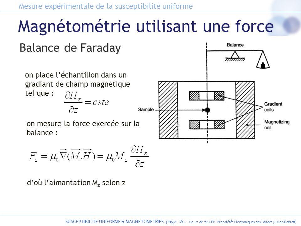 SUSCEPTIBILITE UNIFORME & MAGNETOMETRIES page 26 - Cours de M2 CFP - Propriétés Electroniques des Solides (Julien Bobroff) Magnétométrie utilisant une