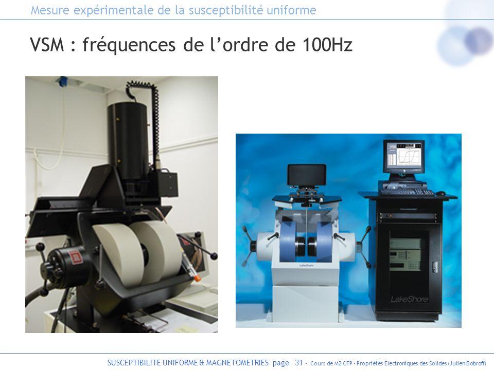 SUSCEPTIBILITE UNIFORME & MAGNETOMETRIES page 31 - Cours de M2 CFP - Propriétés Electroniques des Solides (Julien Bobroff) VSM : fréquences de lordre