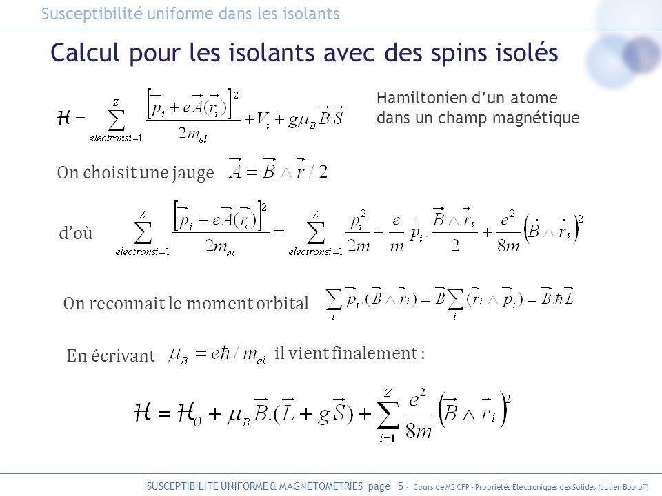 SUSCEPTIBILITE UNIFORME & MAGNETOMETRIES page 5 - Cours de M2 CFP - Propriétés Electroniques des Solides (Julien Bobroff) Calcul pour les isolants ave