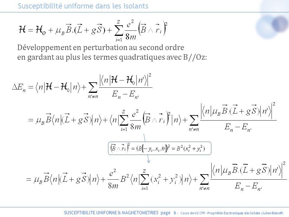 SUSCEPTIBILITE UNIFORME & MAGNETOMETRIES page 7 - Cours de M2 CFP - Propriétés Electroniques des Solides (Julien Bobroff) Diamagnétisme de Larmor Contribution de ce terme à la susceptibilité magnétique : on utilise : où r = rayon ionique On supp.
