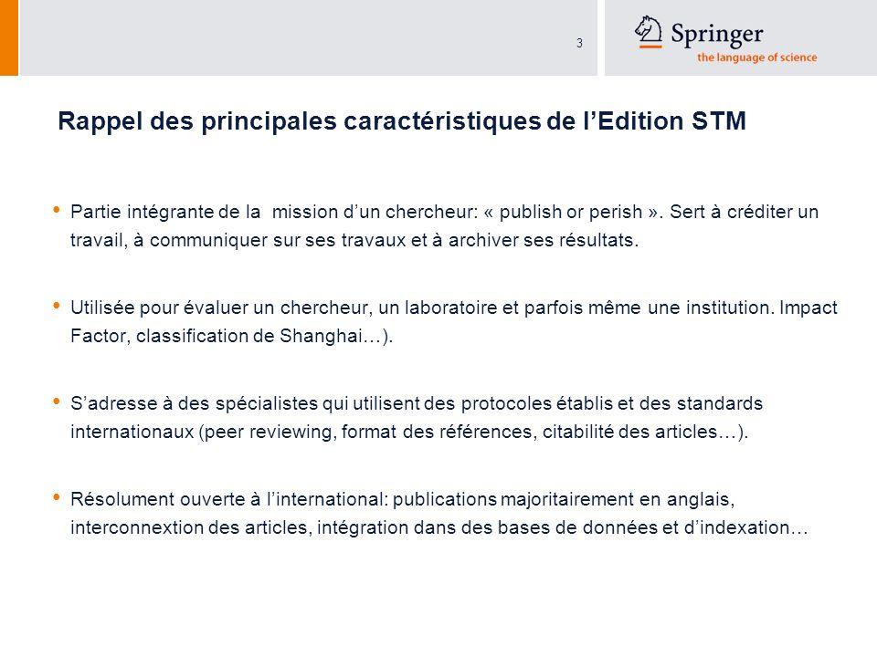 3 Rappel des principales caractéristiques de lEdition STM Partie intégrante de la mission dun chercheur: « publish or perish ».