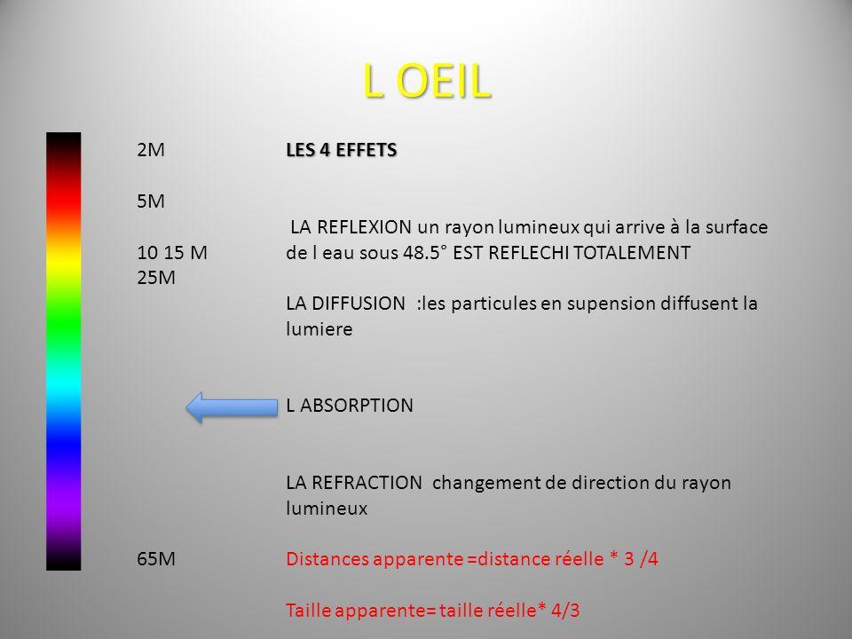 L OEIL 2M 5M 10 15 M 25M 65M LES 4 EFFETS LA REFLEXION un rayon lumineux qui arrive à la surface de l eau sous 48.5° EST REFLECHI TOTALEMENT LA DIFFUS