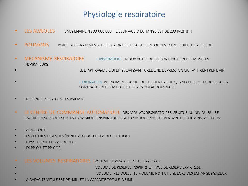 Physiologie respiratoire LES ALVEOLES SACS ENVIRON 800 000 000 LA SURFACE D ÉCHANGE EST DE 200 M2!!!!!!! POUMONS POIDS 700 GRAMMES 2 LOBES A DRTE ET 3