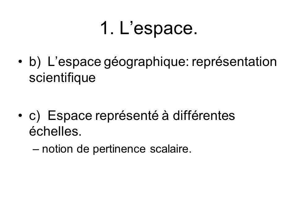 1. Lespace. b)Lespace géographique: représentation scientifique c)Espace représenté à différentes échelles. –notion de pertinence scalaire.
