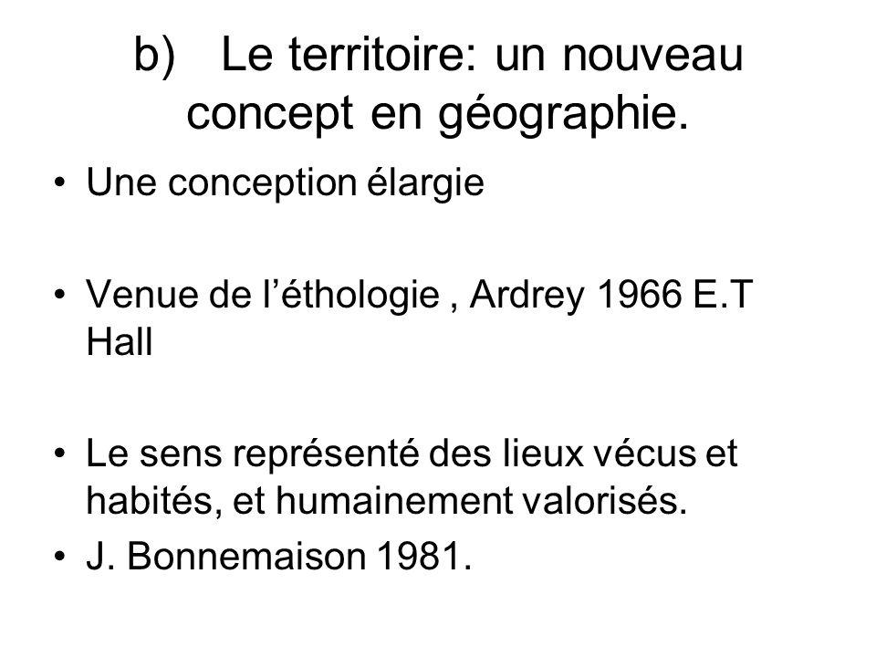 b)Le territoire: un nouveau concept en géographie. Une conception élargie Venue de léthologie, Ardrey 1966 E.T Hall Le sens représenté des lieux vécus