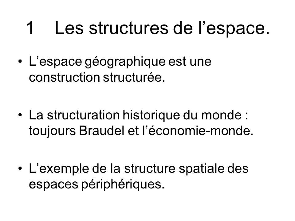1Les structures de lespace. Lespace géographique est une construction structurée. La structuration historique du monde : toujours Braudel et léconomie