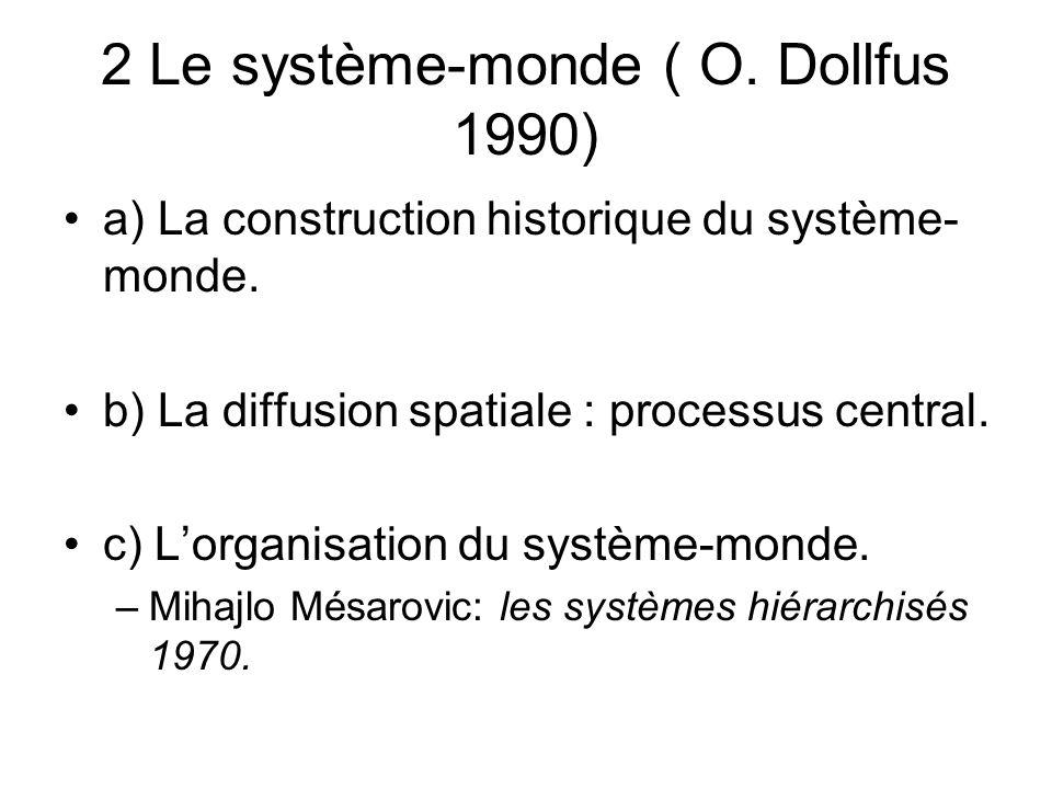 2 Le système-monde ( O. Dollfus 1990) a) La construction historique du système- monde. b) La diffusion spatiale : processus central. c) Lorganisation