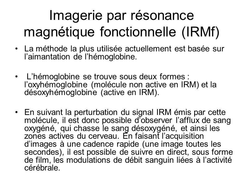 Imagerie par résonance magnétique fonctionnelle (IRMf) La méthode la plus utilisée actuellement est basée sur laimantation de lhémoglobine. Lhémoglobi