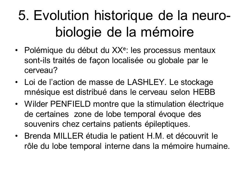 5. Evolution historique de la neuro- biologie de la mémoire Polémique du début du XX e : les processus mentaux sont-ils traités de façon localisée ou