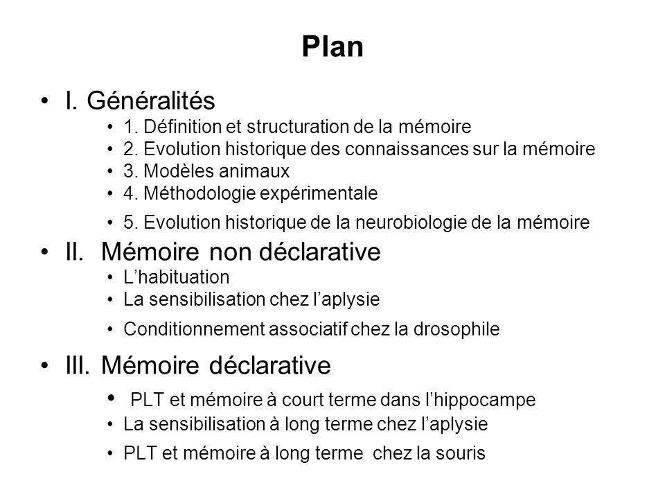 Plan I. Généralités 1. Définition et structuration de la mémoire 2. Evolution historique des connaissances sur la mémoire 3. Modèles animaux 4. Méthod