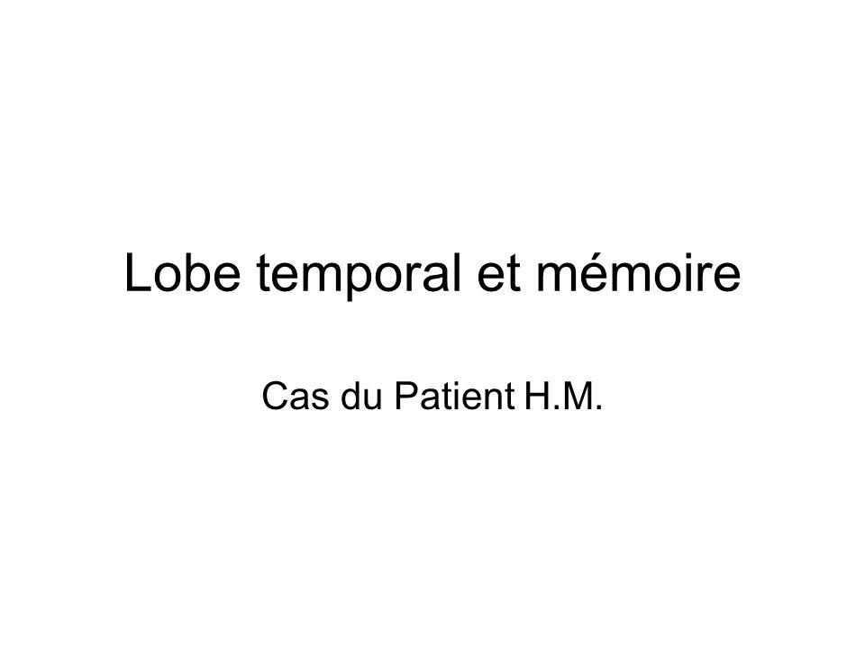 Lobe temporal et mémoire Cas du Patient H.M.