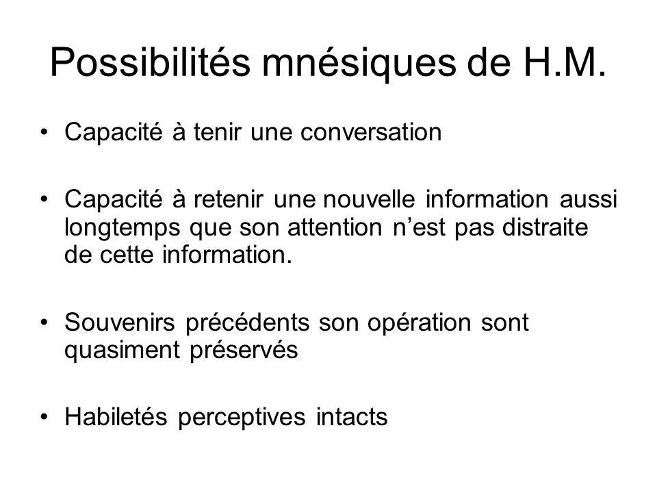 Possibilités mnésiques de H.M. Capacité à tenir une conversation Capacité à retenir une nouvelle information aussi longtemps que son attention nest pa