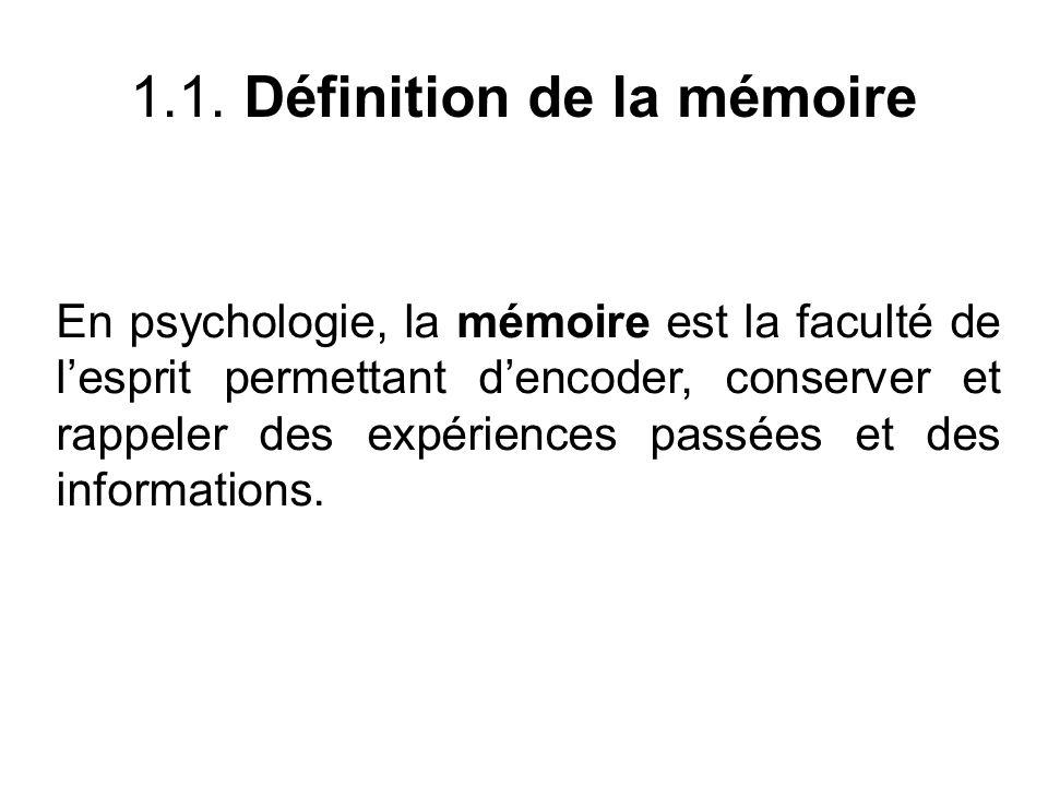 1.1. Définition de la mémoire En psychologie, la mémoire est la faculté de lesprit permettant dencoder, conserver et rappeler des expériences passées