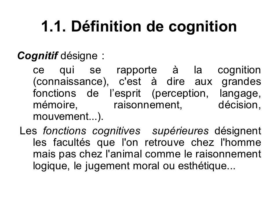 1.1. Définition de cognition Cognitif désigne : ce qui se rapporte à la cognition (connaissance), c'est à dire aux grandes fonctions de lesprit (perce