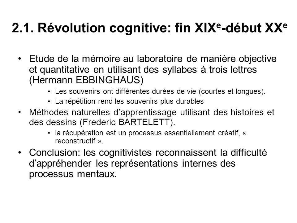 2.1. Révolution cognitive: fin XIX e -début XX e Etude de la mémoire au laboratoire de manière objective et quantitative en utilisant des syllabes à t