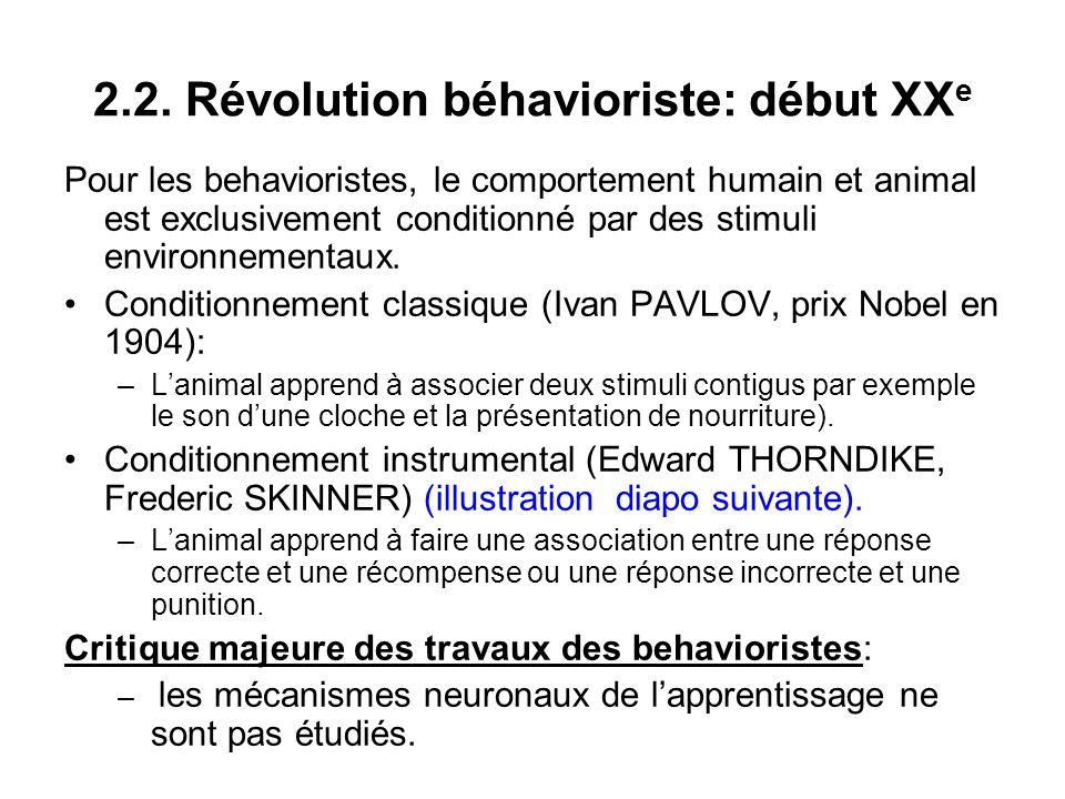 2.2. Révolution béhavioriste: début XX e Pour les behavioristes, le comportement humain et animal est exclusivement conditionné par des stimuli enviro